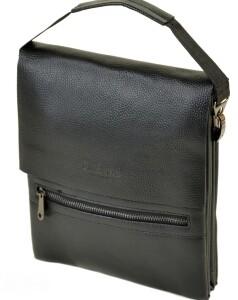Крупная мужская сумка «Dr.Bond» чёрного цвета с кожаным клапаном на магнитах купить. Цена 680 грн