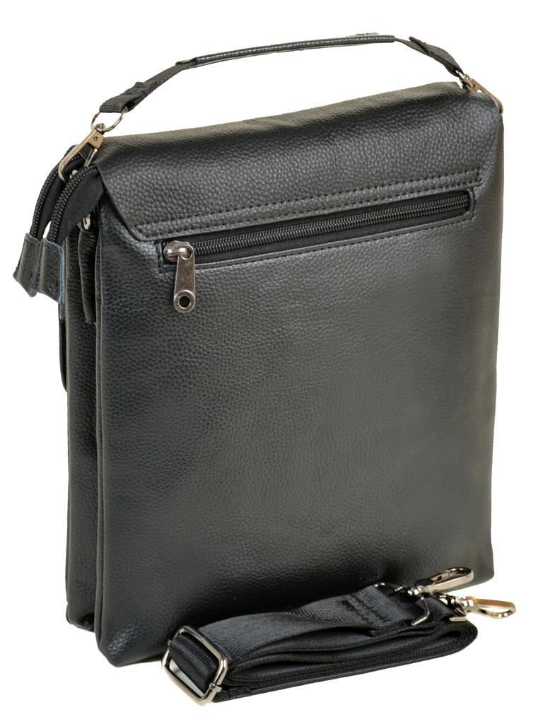 Красивая мужская сумка «Dr.Bond» крупного размера из чёрной зернистой экокожи фото 1