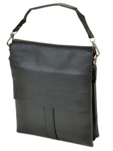 Небольшая мужская сумка «Dr.Bond» из зернистой экокожи с кожаным клапаном фото. Купить