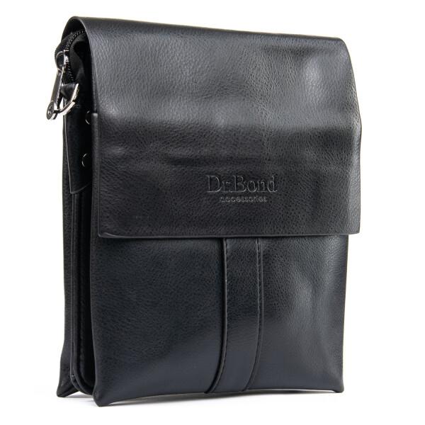 Чёрная мужская сумка «Dr.Bond» из качественной гладкой экокожи с кожаным клапаном купить. Цена 590 грн