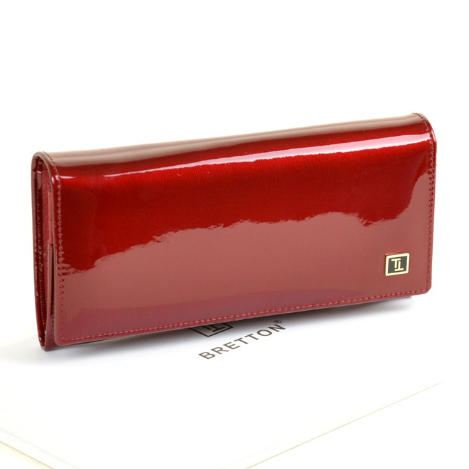 Гладкий женский кошелёк «Bretton» из лаковой кожи бордового цвета купить. Цена 799 грн