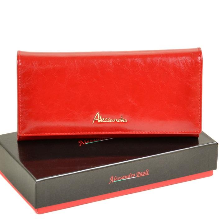 Роскошный кошелёк «A.Paoli» из глянцевой кожи ярко-красного цвета купить. Цена 799 грн