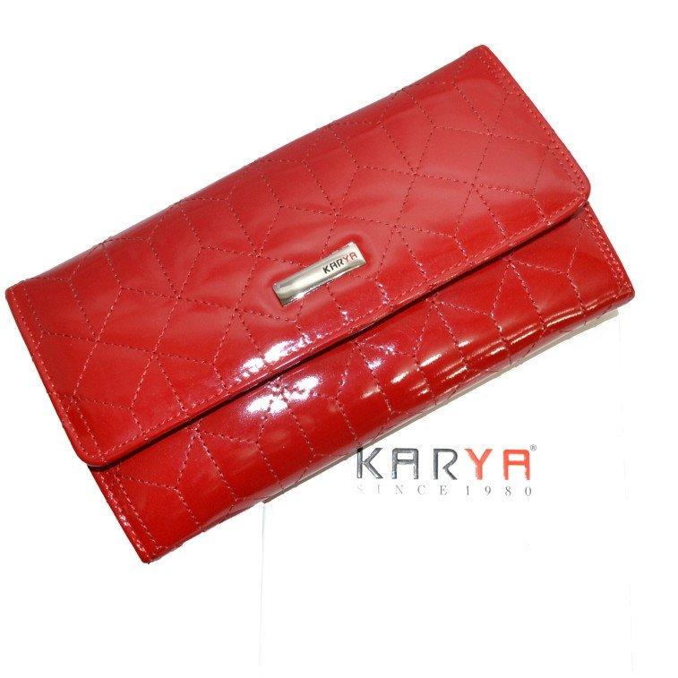 Красивый кошелёк «Karya» ярко-красного цвета из лаковой кожи купить. Цена 1299 грн