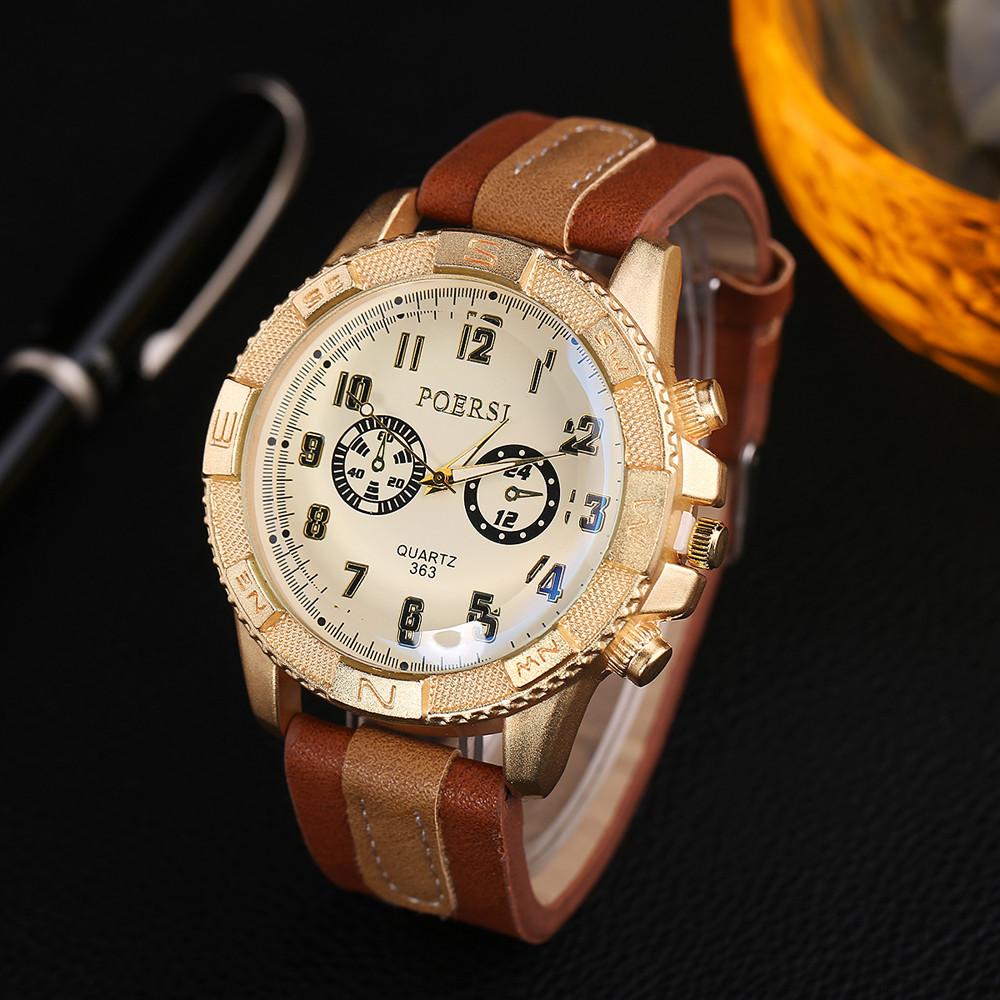 Крупные часы «Poersi» в ковбойском стиле с рыжим ремешком купить. Цена 335 грн