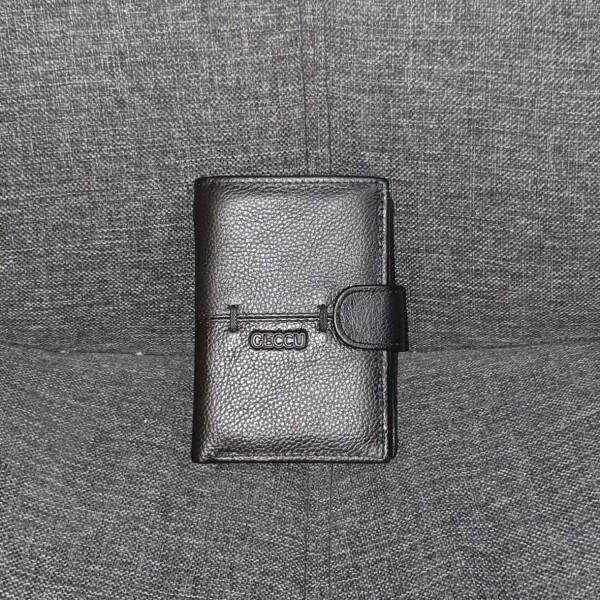 Вертикальное портмоне «Geccu» на кнопке из мягкой зернистой кожи купить. Цена 599 грн