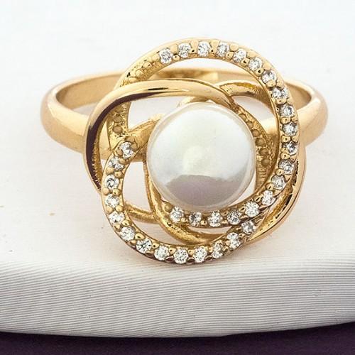 Кольцо «Роза Падишаха» с белой жемчужиной в позолоченной оправе купить. Цена 185 грн