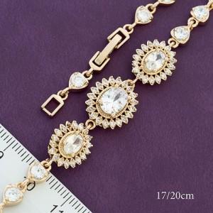 Потрясающий браслет «Роскошь» с крупными цветами из камней в позолоченной оправе купить. Цена 399 грн