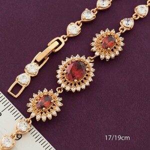 Изумительный браслет «Роскошь» с красными и белыми цирконами купить. Цена 399 грн