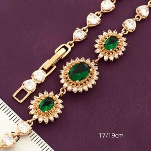 Совершенный браслет «Роскошь» с изумрудными цветами в позолоченной оправе купить. Цена 399 грн