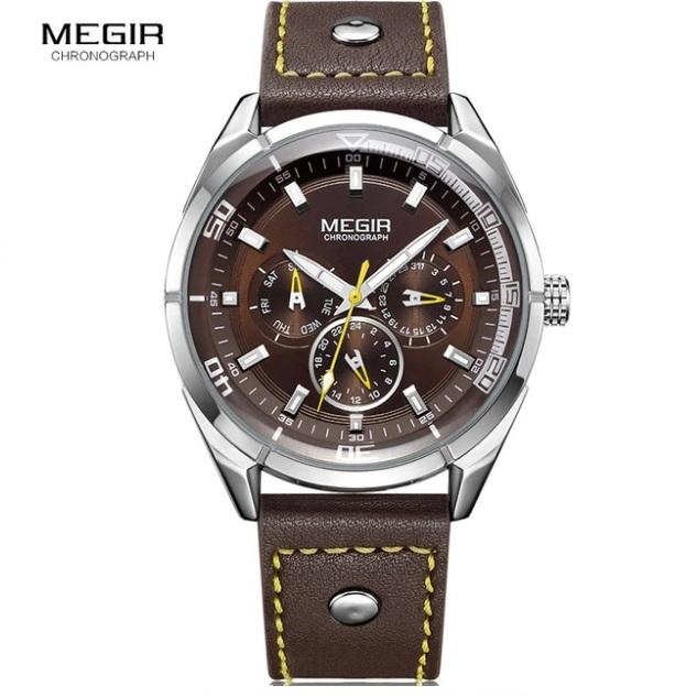 Замечательные мужские часы «Megir» с жёлтой строчкой на ремешке купить. Цена 1590 грн