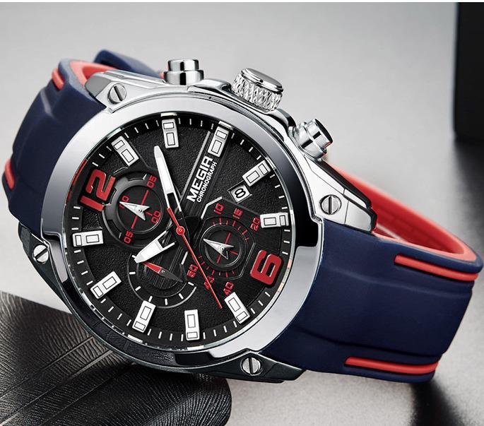 Стильные мужские часы «Megir» с двухцветным силиконовым ремешком купить. Цена 1590 грн