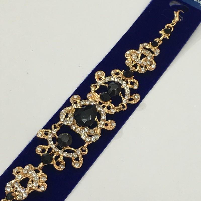 Ажурный браслет «Венецианский» с чёрными камнями в металле под золото купить. Цена 255 грн