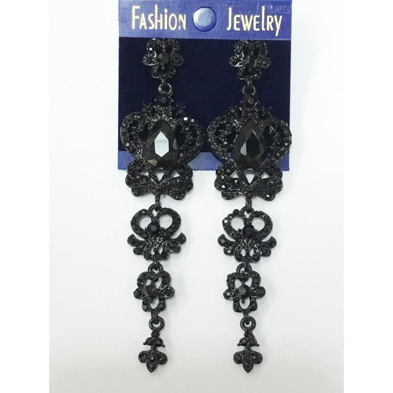 Длинные серьги «Виндзорские» с чёрными камнями в чёрной металлической оправе купить. Цена 235 грн