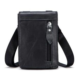 Маленькая мужская сумка «Westal» из глянцевой кожи чёрного цвета купить. Цена 899 грн