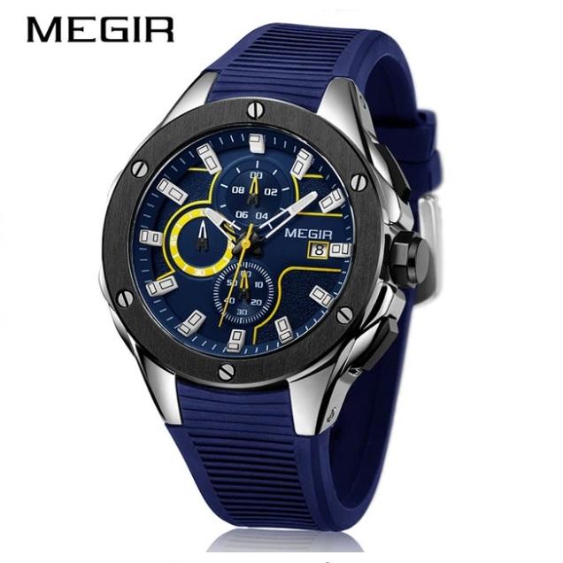 Спортивные часы «Megir» с секундомером и синим силиконовым ремешком купить. Цена 1590 грн
