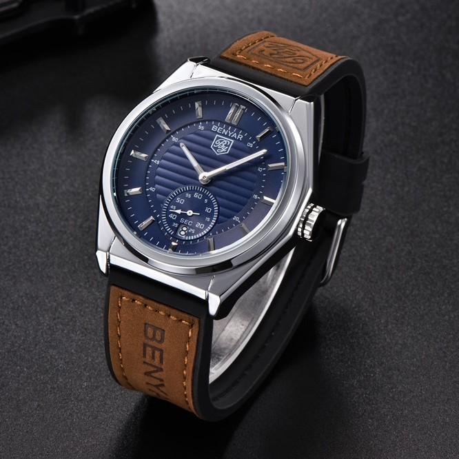 Благородные мужские часы «Benyar» с комбинированным двухцветным ремешком купить. Цена 1570 грн