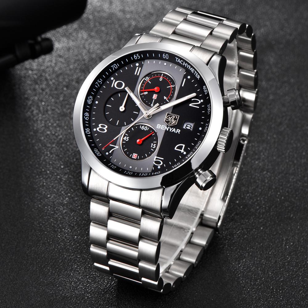 Безупречные мужские часы «Benyar» с металлическим браслетом купить. Цена 1790 грн