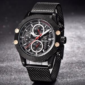 Качественные мужские часы «Benyar» с чёрным ремешком-кольчугой купить. Цена 1790 грн