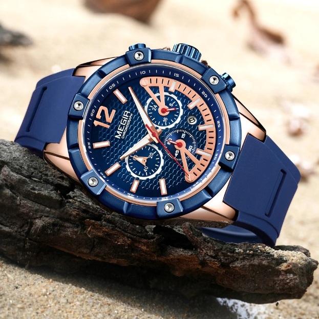Синие мужские часы «Megir» в спортивном стиле с мягким силиконовым ремешком купить. Цена 1890 грн