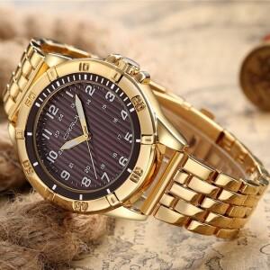 Богатые мужские часы «CRRJU» с массивным браслетом золотого цвета купить. Цена 799 грн