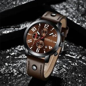 Отличные мужские часы «CRRJU» с коричневым циферблатом и ремешком купить. Цена 1290 грн