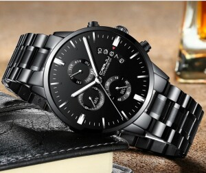 Чёрные мужские часы «CRRJU» с календарём и секундомером купить. Цена 1490 грн