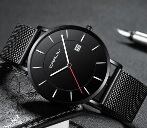 Простые кварцевые часы «CRRJU» с чёрным металлическим ремешком купить. Цена 880 грн