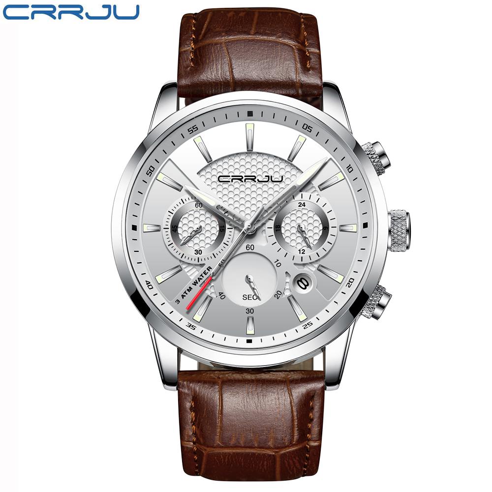 Повседневные мужские часы «CRRJU» с коричневым ремешком купить. Цена 1190 грн