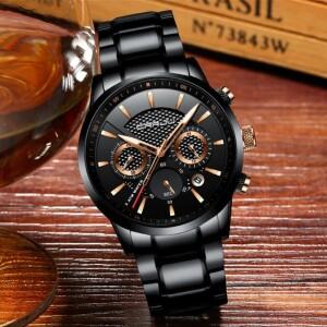 Солидные мужские часы «CRRJU» с корпусом и браслетом чёрного цвета купить. Цена 1790 грн