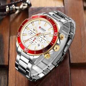 Крупные часы «Curren» серебряного цвета с красным безелем и золотыми кнопками купить. Цена 1590 грн