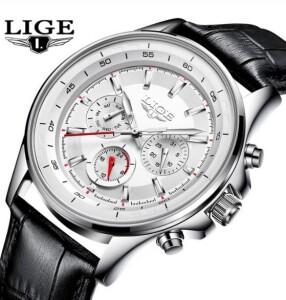 Классические мужские часы «LIGE» с белым циферблатом и чёрным ремешком купить. Цена 1199 грн