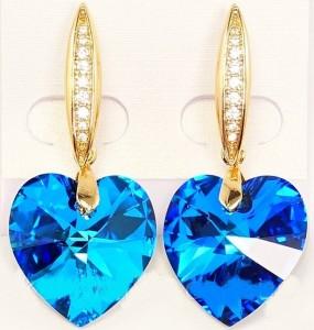 Незабываемые серьги «Сердце Океана» с огромным синим камнем Swarovski купить. Цена 465 грн