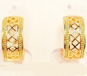 Небольшие серьги «Сеточка» в форме колец с золотым напылением купить. Цена 99 грн