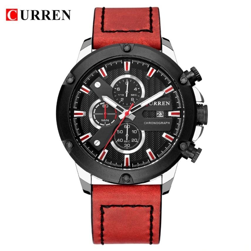 Красивые мужские часы «Curren» в спортивном стиле с красным ремешком купить. Цена 1490 грн