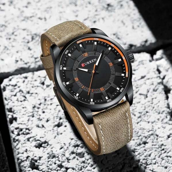Брутальные мужские часы «Curren» с чёрным корпусом и ремешком цвета хаки купить. Цена 1099 грн