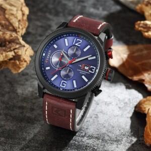 Стильные мужские часы «Curren» с синим циферблатом в чёрном корпусе купить. Цена 1490 грн