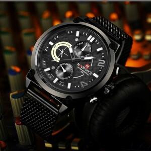 Массивные наручные часы «Naviforce» с чёрным металлическим ремешком-кольчугой купить. Цена 1690 грн