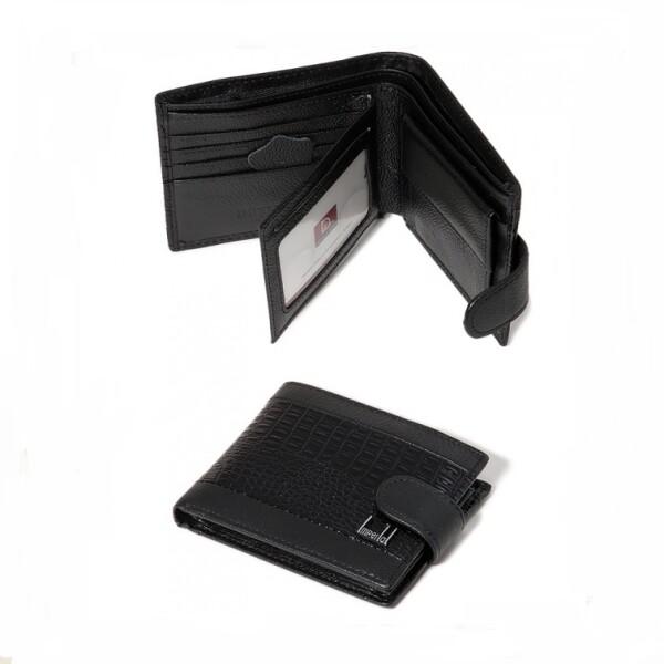 Чёрный кожаный бумажник «Imperial Horse» с лаковой вставкой под крокодила купить. Цена 575 грн
