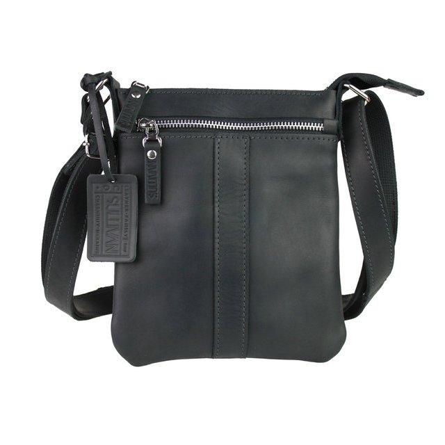 Маленькая мужская сумка «Sullivan» из чёрной кожи crazy horse купить. Цена 1390 грн