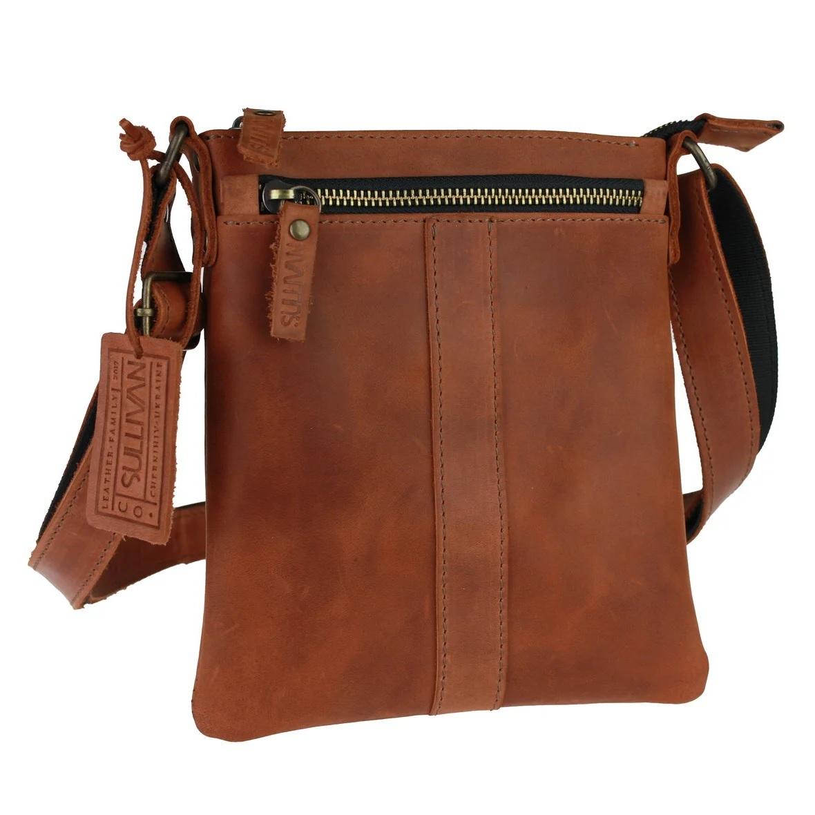 Тонкая мужская сумка «Sullivan» ручной работы из винтажной кожи рыжего цвета купить. Цена 1390 грн