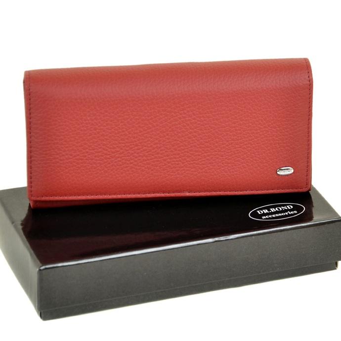 Тёмно-красный кошелёк «Dr.Bond» из качественной кожи с магнитной застёжкой купить. Цена 699 грн