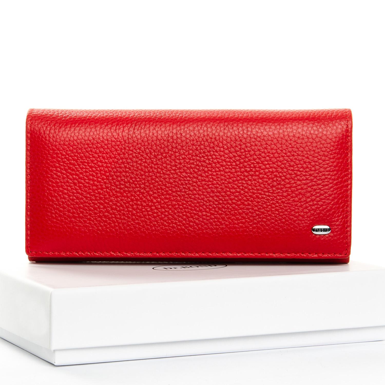 Ярко-красный кошелёк «Dr.Bond» из натуральной кожи с клапаном на магните купить. Цена 699 грн