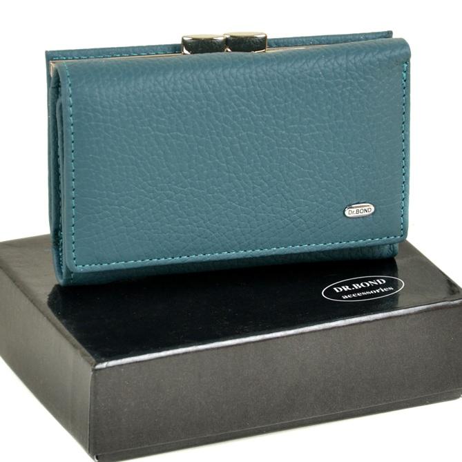 Отличный кожаный кошелёк «Dr.Bond» голубого цвета с магнитной застёжкой купить. Цена 699 грн