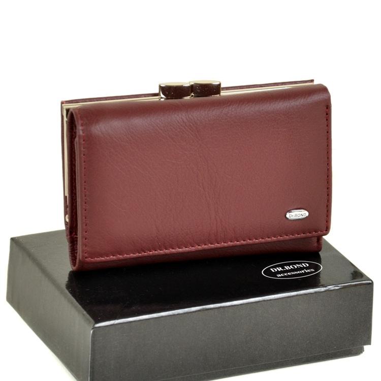Бордовый кожаный кошелёк «Dr.Bond» с металлической монетницей на защёлке купить. Цена 665 грн