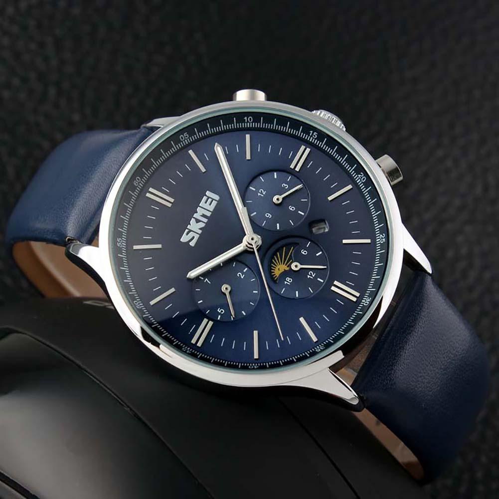 Замечательные мужские часы «SKMEI» с хронографом и синим ремешком купить. Цена 1190 грн