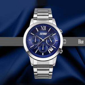 Качественные часы «SKMEI» с синим циферблатом и серебристым браслетом купить. Цена 1150 грн