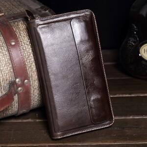 Классический мужской клатч на змейке «Westal» из масляной коричневой кожи купить. Цена 980 грн