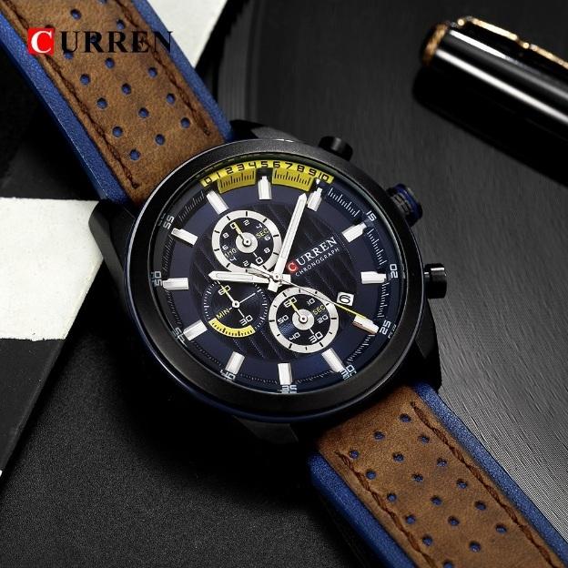 Элегантные мужские часы «Curren» с красивым двухцветным ремешком купить. Цена 1490 грн
