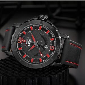 Чёрные мужские часы «Naviforce» с изображением якоря на циферблате купить. Цена 1070 грн