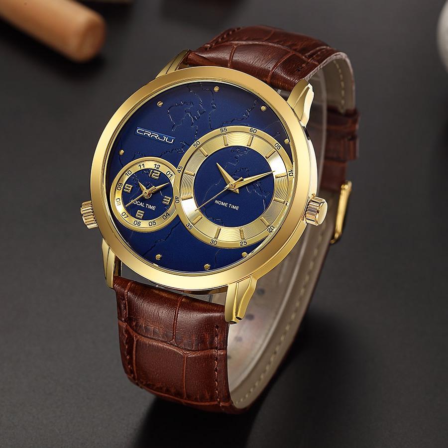 Красивые часы «CRRJU» с двумя циферблатами в золотом корпусе купить. Цена 899 грн
